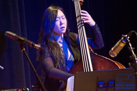 Photo of jazz bassist Linda May Han Oh at the 2016 Vision Festival. Photo by Joyce Jones.